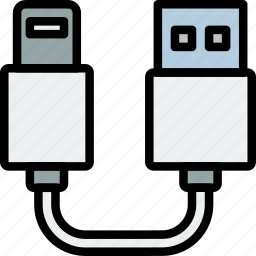 cable, connector, lightning, plug, to, usb icon