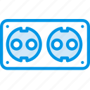 plug, socket, cable, double, connector, eu icon