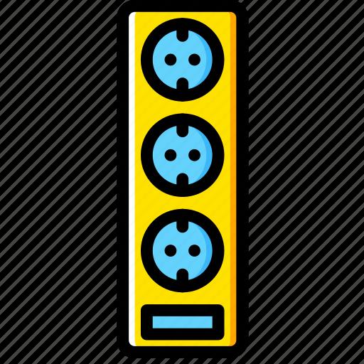 cable, connector, eu, plug, socket, triple icon