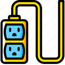 cable, connector, double, plug, socket, us icon