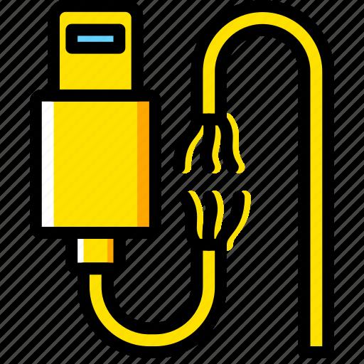 Connector, broken, plug, cable, lightning icon
