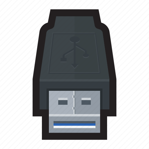 cable, connector, external, type a, usb, usb 3.0 icon