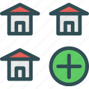 add, building, home, house icon