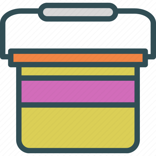 bucket, building, full, heavy, lift, materials, use icon