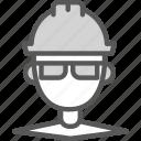 engineer, helmet, man, site icon