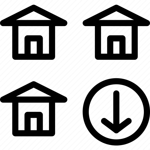 building, down, home, house icon