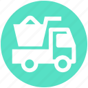 construction, heavy machine, heavy vehicle, loading, transport, truck