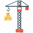 cargo, construction crane, crane lifting, crane machine, harbor crane icon
