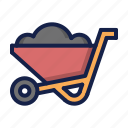 bricks, construction, wheelbarrow icon