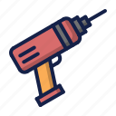 construction, drill, drill machine, tool icon