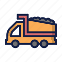 construction, dump truck, loading, truck icon