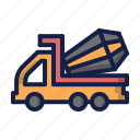 construction, mixer, mixer truck, truck icon