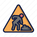 construction, traffic attention, worker icon
