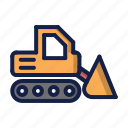 bulldozer, construction, tracktor icon