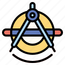 and, circle, compass, draw, drawing, tools, utensils icon