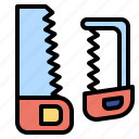 construction, cutting, handsaw, improvement, repair, saw, tools icon