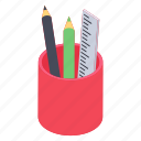 pencil and scale, stationary equipment, stationery holder, stationery items, writing tools icon