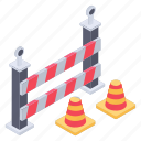 barricade, construction banner, construction fence, hazard banner, under construction barrier icon