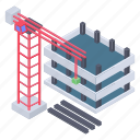 construction equipment, construction site, construction work, uncompleted construction, under construction building, work in progress icon