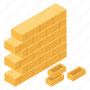 bricks, construction site, house construction, partition, residential construction, wall construction icon