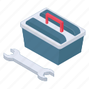 construction toolbox, toolbox, wrench tool, service tool, tool kit icon