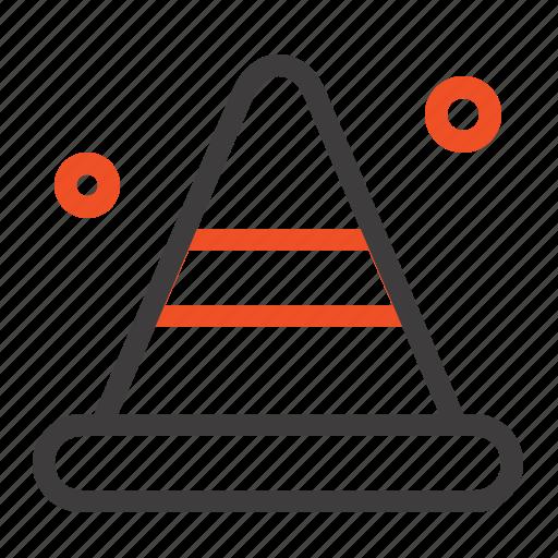 alert, cone, construction, road icon