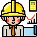 construction, engineer, engineering, helmet, male, people, worker icon