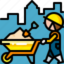 barrow, cart, construction, tool, transport, transportation, wheelbarrow icon