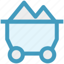 coal cart, construction, construction cart, mine cart, mine chariot, mine trolley icon