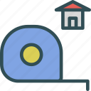 dimensions, measure, sizehome, tape icon