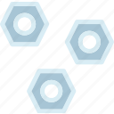 hexagons, mechanic, screws icon