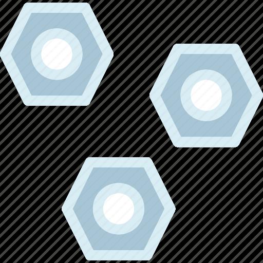 hexagons, mechanic, screws icon