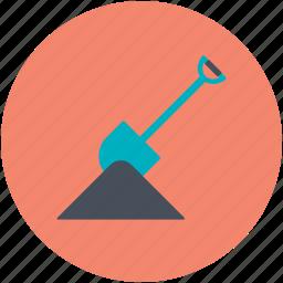 construction tool, digging, gardening tool, gardening tools, hand tool, rake, spade icon