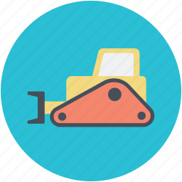 bulldozer, crane, excavator, heavy machinery, lifter icon