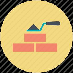 bricks, brickwork, construction work, trowel, under construction icon