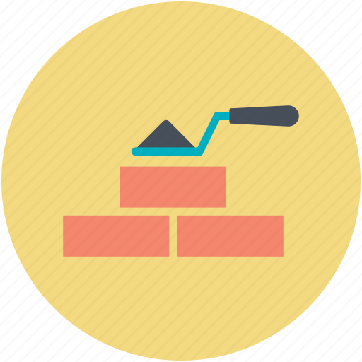 bricks, brickwork, construction work, trowel, under construction icon