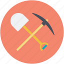 digging tools, pick hammer, shovel, spade, work tools icon