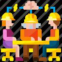 brainstorm, brainstorming, construction, meeting, professional, team, teamwork