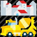 builder, cement, concrete, construction, machinery, mixer, transport icon