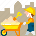 barrow, cart, construction, tool, transport, transportation, wheelbarrow