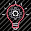 bulb, creative, gear, idea, innovation icon