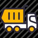 construction, dumper, dumping, truck icon