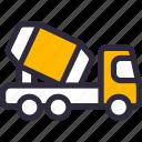 cement, mixer, truck, vehicle