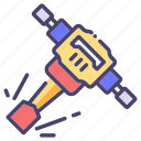building, construction, industry, jack hammer icon