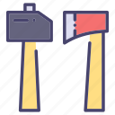 axe, building, construction, hammer, industry icon