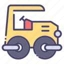 building, construction, industry, roller, steam icon
