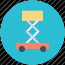 construction support, construction vehicle, crane, lifting platform, scissor lift icon