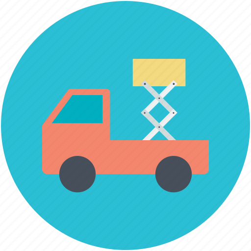 construction support, construction vehicle, crane, lifting platform, scissor lift icon