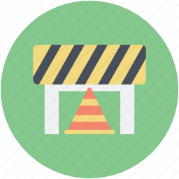 barrier, caution, traffic cone, under construction, website improvement icon