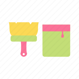brush, color, construction, paint, roller, tool, work icon